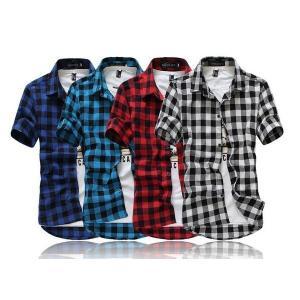 メンズ半袖ワイシャツ カジュアルシャツ ビジネスオフィス 通勤トップス 細身ブラウス 紳士チェック柄シャツ お兄系 通学 ポロシャツ 4色|ff8yoshi1127