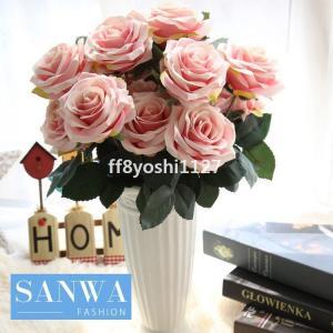 造花インテリアローズバンチお洒落雑貨ナチュラル飾り部屋装飾花束ブーケフェイクグリーンプレゼントギフト|ff8yoshi1127