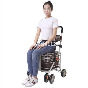 ショッピングカートワイヤーカートバッグ付きアルミ製ブレーキ付き高さ調節可能(買い物カート手押し車折りたたみコンパクト) ff8yoshi1127