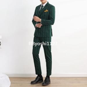 ストラップ紳士服大きいサイズ白通勤緑結婚式タキシード細身メンズスーツ黒3色展開!ダブルスーツ就職活動二次会スリムビジネススーツ|ff8yoshi1127