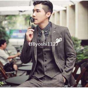 3ピーススーツチェック柄3色メンズスーツフォーマル一つボタンスリム大きいサイズ長袖ジャケット+ベスト+パンツ通勤結婚式OL20代30代40代|ff8yoshi1127