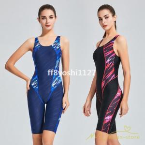 水着レディース体型カバースポーツスイムウェアフィットネス水着袖なしパット付きワンピース水着ひざ丈防水速乾性水泳練習用女性スイミング|ff8yoshi1127