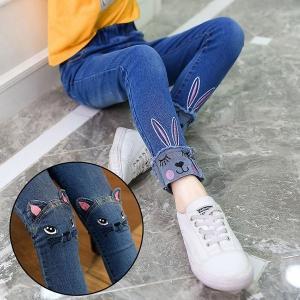 子供 デニムパンツ 女の子 ネコ柄 うさぎ柄 刺繍 ダメージ加工 ジュニア 子ども キッズ ウエストゴム デニムパンツ ボトムス ジーンズ 長ズボン キッズ ズボン|ff8yoshi1127