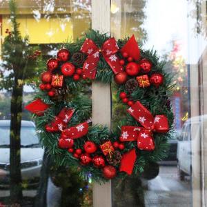 クリスマスリース 2個セット玄関ドア用 Xmasリース おしゃれ 松ぼっくり 40cm ff8yoshi1127