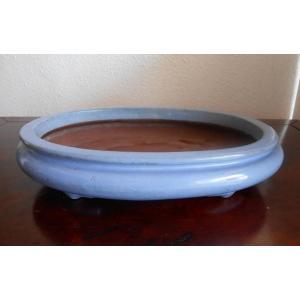 0441 (中古) 盆栽鉢【均釉袋式楕円】楕円鉢 ffactory-ff