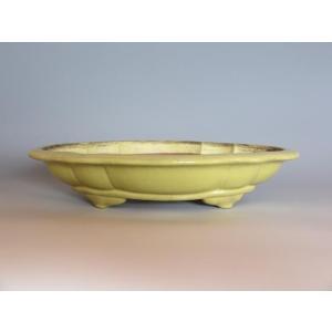 9879 (中古) 盆栽鉢◆黄金釉木瓜式◆銘品中国鉢 ffactory-ff