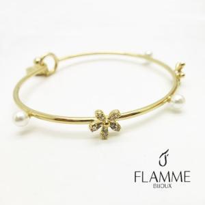 【FLAMME】ブレスレット/真鍮/ゴールド/キュービックジルコニア CZ/パール/14KPG/デザインブレス/フックタイプ/腕輪 FLB-#0244|ffactory-ff