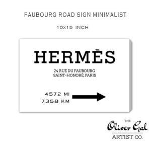 【OliverGal】オリバー・ガル/アート/絵画/インテリア雑貨/エルメス/HERMES 絵/Faubourg Road Sign Minimalist 15523 10×15インチ オリバーガル|ffactory-ff