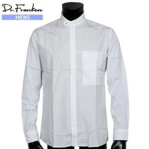 ■SALE 73%OFF■【Dr.Franken】ドクターフランケン 日本製 スタンドカラー カジュアルシャツ(長袖) 白『17/9/3』130917(送料無料) fflower11