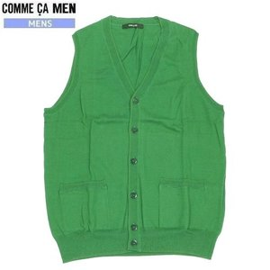 ■SALE 70%OFF■【COMME CA MEN】コムサメン シルク混Vネック ニットボタンベスト 緑『16/5/4』240516(送料無料)|fflower11