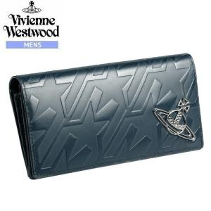 【Vivienne Westwood MAN】ヴィヴィアンウエストウッドマン 本革 スタートゥース型押し長財布 紺『16/2/3』160216(送料無料) fflower11