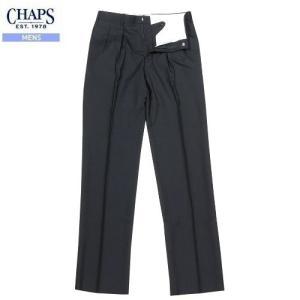 【訳あり商品】【CHAPS】チャップス ピンストライプスラックスパンツ(ツータック) 黒『16/8/1』050816(送料無料)|fflower11
