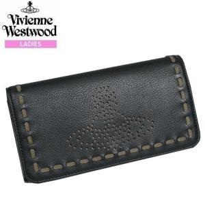 【Vivienne Westwood】ヴィヴィアンウエストウッド 本革 パンチングステッチ かぶせ長財布 黒『17/5/1』020517(送料無料)|fflower11
