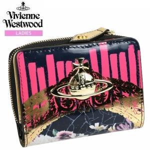 【訳あり商品】【Vivienne Westwood】ヴィヴィアンウエストウッド 本革 フローラルフレーム ラウンドファスナー二つ折り財布 黒『17/1/4』260117(送料無料) fflower11