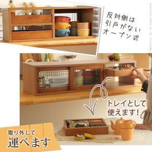 キッチン スパイスラック 引出し付き 引戸 収納庫 アン W90 カウンターラック 上置き 両面開き 調味料|ffws|02