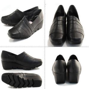 厚底シューズ 厚底靴 スリッポン ファーストコンタクト FIRST CONTACT 39100 ブラック 黒 ウェッジソール 日本製|fg-store|02