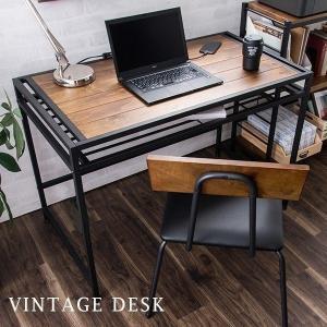 デスク パソコンデスク 木製 PCデスク 幅100cm ワークデスク ラック付きデスク 収納 机 ヴィンテージ デスク(A)の写真