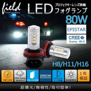 LED フォグランプ H8 H11 H16 80w 改良版 バルブ ライトフォグランプLED  360度全方位に発光|field-ag