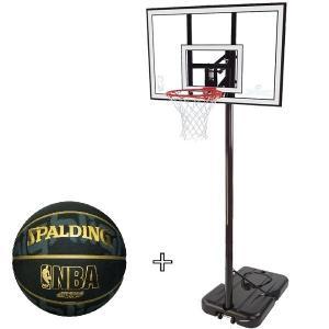 バスケットボール バスケットゴール セット WHITE スポルディング 屋外 家庭用 (SP)(QBJ37)|fieldboss
