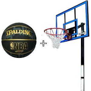 バスケットボール バスケットゴール セット BLUE スポルディング 屋外 家庭用 (SP)(QBJ37)|fieldboss