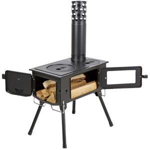 薪ストーブ ダッチオーブン バーベキュー UG-0075 KAMADO(かまど)煙突 ガラス窓付 角型ストーブ  (CAG)の画像