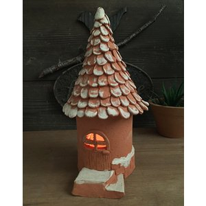 テラコッタ陶器キャンドルシェード(とんがり屋根の家)/ キャンドル ろうそく あかり ガーデン インテリア 日本製|fieldfine1998