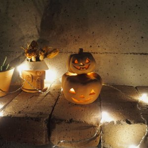 ハロウィン雑貨 テラコッタ製ジャックオーランタン2個セット / かぼちゃ おばけ 飾り ランプシェード 置物|fieldfine1998