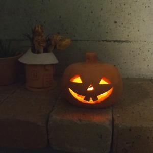 ハロウィン雑貨 テラコッタ製ジャックオーランタンL / かぼちゃ おばけ 飾り ランプシェード 置物|fieldfine1998