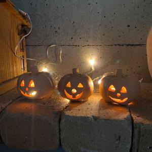 ハロウィン雑貨 テラコッタ製ジャックオーランタンM 3個セット / かぼちゃ おばけ 飾り ランプシェード 置物|fieldfine1998