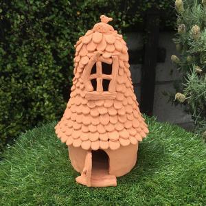 ロングルーフハウス テラコッタ陶器オーナメント/ 置物 オブジェ ガーデン インテリア 日本製|fieldfine1998