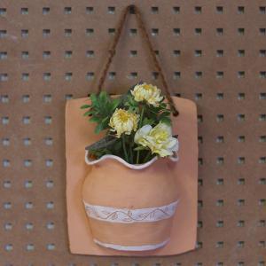 ハンギングポット(リーフ)/テラコッタ製 植木鉢 ガーデニング お花 植物 壁掛け インテリア ドライフラワー 飾り|fieldfine1998