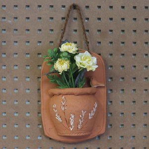 ハンギングポット(小鳥)/テラコッタ製 植木鉢 ガーデニング お花 植物 壁掛け インテリア ドライフラワー 飾り|fieldfine1998