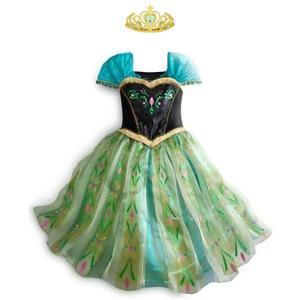 アナと雪の女王 アナ エルサ 風 子供用 プリンセス ドレス 可愛い ハートの ティアラ セット 100 110 120 130 140 cm  *.☆ CREDIBLE ☆*゜