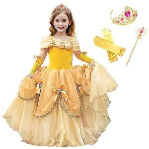 美女と野獣 ベル Belle  風 子供用 プリンセス ドレス 可愛い ハートの ティアラ セット 100 110 120 130 140 150 cm  *.☆ CREDIBLE ☆*゜