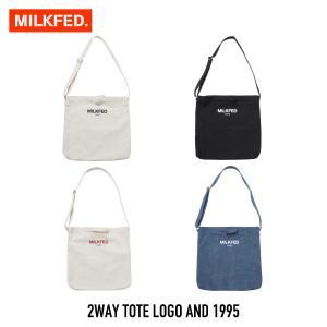 【クーポンで10%OFF!】ミルクフェド MILKFED. バッグ 2WAY TOTE LOGO AND 1995|figure-corners