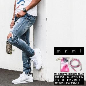 ミニマル mnml  M1 ストレッチ デニム ブルー パンツ M1 STRETCH DENIM BLUE 18ML-SP213D メンズ ボトム|figure-corners