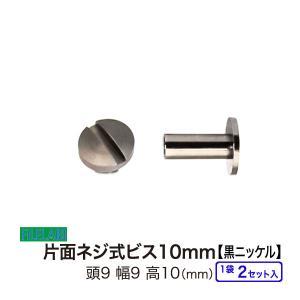 片面ネジビス10mm 黒ニッケル 頭9mm 太さ4mm 長さ10mm 真鍮製 2セット入|filelabo
