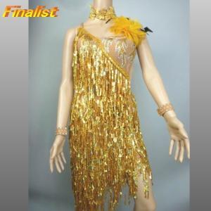 社交ダンス ラテンドレス ゴールドフリンジ A002|finarit