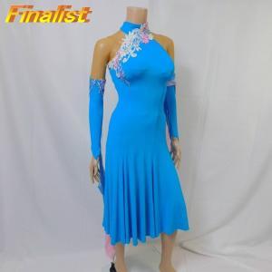 社交ダンス スタンダードドレス アトリエヒロコ製 新品 ターコイズブルー|finarit