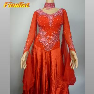社交ダンス スタンダードドレス 赤 B0018|finarit