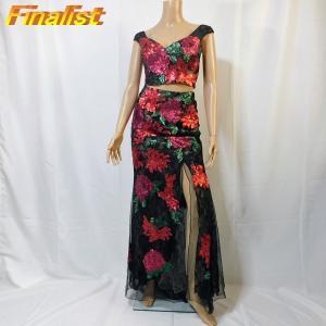 社交ダンス 中古パーティードレス 黒赤の花柄ロング|finarit