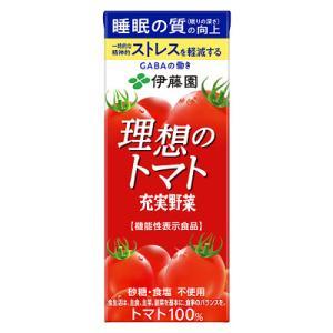 """商品名:理想のトマト 紙パック 200ml 商品特長: 厳選された完熟トマトを使用し、理想の""""おいし..."""