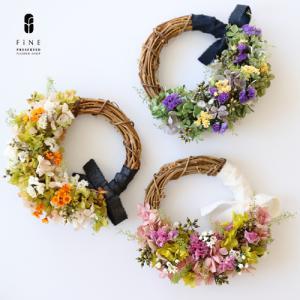 プリザーブドフラワー ポレットリース カジュアル ミニリース ハーフリース ギフト プレゼント 誕生日 お祝い 結婚祝い 新築祝い 開店祝い 開業祝い 送料無料|fine-flower