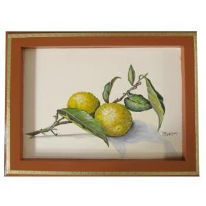 トールペイント図案付白木素材 cwk-200 柚子を描いたフレーム|fine-home