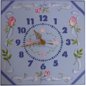 トールペイント図案付白木素材 cwk-202 時計文字ステンシル(数字)を使用したリボンとバラの角時計|fine-home