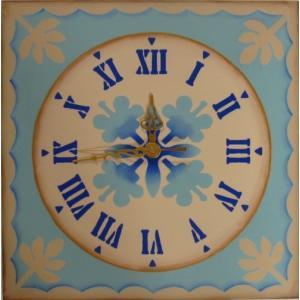 トールペイント図案付白木素材 cwk-203 時計文字ステンシル(ローマ数字)を使用したハワイアンキルト風角時計|fine-home