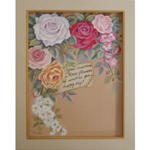 トールペイント ご自分で描く図案付無塗装白木素材 cwk-218 メッセージを添えたバラの花束