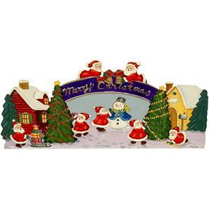 トールペイント ご自分で描く 図案付白木素材 mh-449 リトルサンタのクリスマス準備