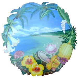 トールペイント図案付白木素材  ハワイアンプレート