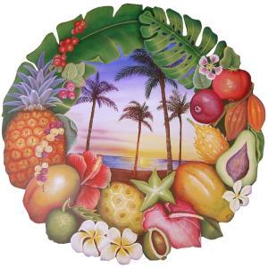 トールペイント図案付白木素材  ハワイアンフルーツプレート
